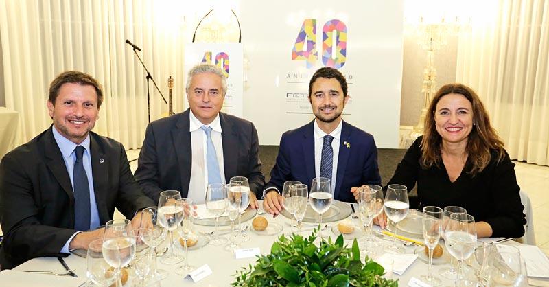 Josep Andreu (Puerto de Tarragona), Enric Ticó (Feteia), Damià Calvet (consejero de Territorio) y Mercè Conesa (Puerto de Barcelona).