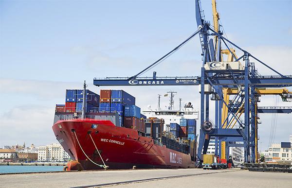 Operaciones de carga y descarga de contenedores en la terminal de Concasa en el puerto de Cádiz.