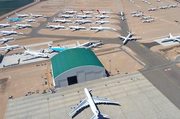 Vista aérea de las instalaciones del aeropuerto de Teruel. (Foto: Aeropuerto de Teruel)