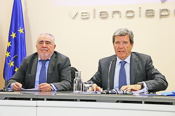 Francesc Sánchez, director general y Aurelio Martínez, presidente de la Autoridad Portuaria de Valencia.