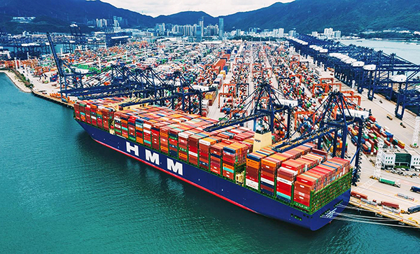 """Imagen del nuevo buque """"HMM Algeciras"""" botado el pasado mes de abril por HMM."""