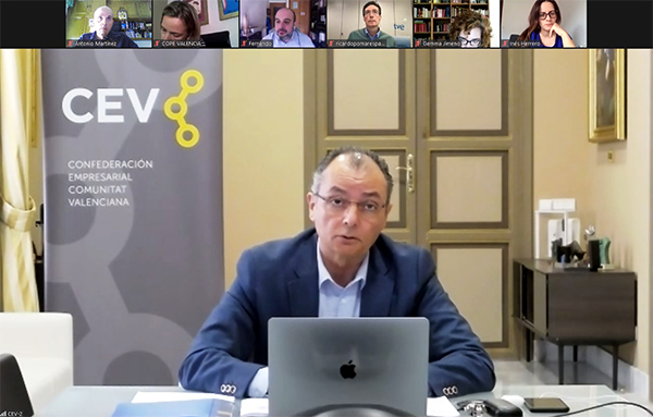 Salvador Navarro, presidente de CEV durante la rueda de prensa celebrada el pasado 15 de mayo en Valencia.