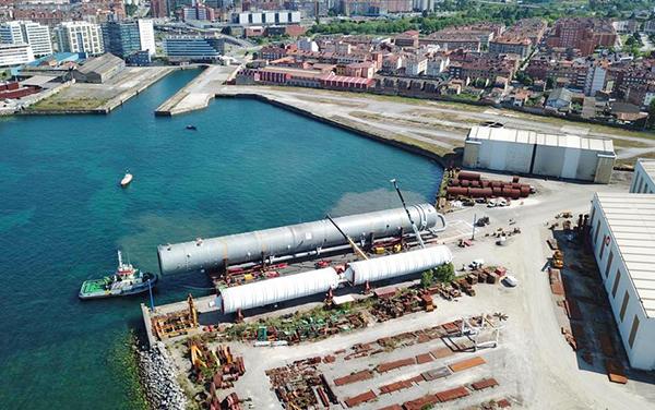 Imagen aérea de la pieza fabricada por Duro Felguera en Gijón.