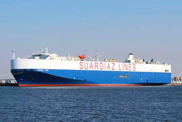 """Imagen del buque """"Mosel Ace"""" de Suardiaz que retoma la línea atlántica con una frecuencia quincenal."""