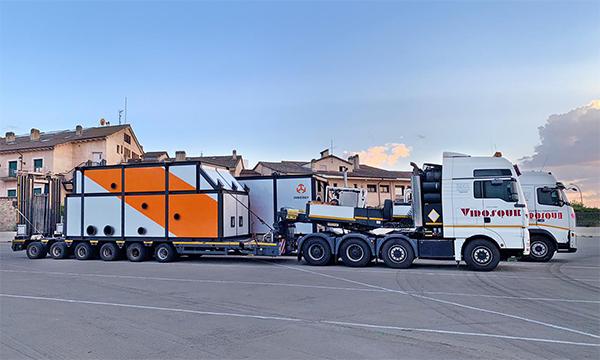Grupo Virosque empleó dos góndolas rebajadas para este transporte para Innergy.