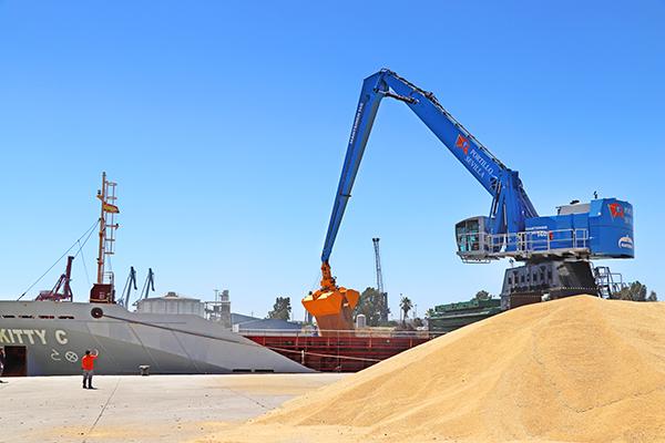 Operaciones de la nueva grúa adquirida por Portillo para su tráficos en el puerto de Sevilla.