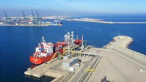Operaciones de exportación de GNL en la terminal de Saggas.
